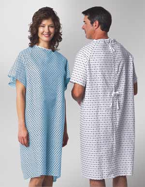 Patient Gowns Standard Cut with Straight Back Closure
