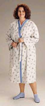 Patient Robes Blue Trim Galaxy Grey Print