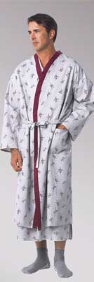 Patient Robes Cranberry Trim Galaxy Grey Print