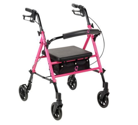 Pink Rollator with 6in Wheels