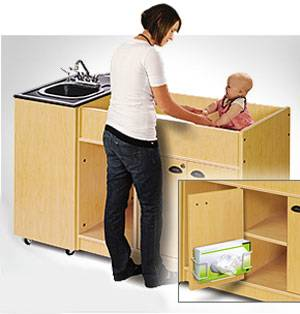 Portable Sink for Daycare w/ ABS Basin & Diaper Station