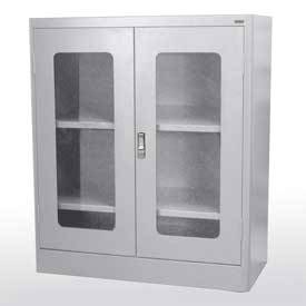 Radius Edge Glass Door Storage Cabinet (36in W x 18in D x 42in H)