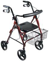 Red Aluminum Rollator with Removable Wheels