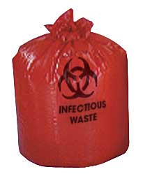 Red Liners Biohazard Low Density Bags 17 in. x 17 in. 1.5 mil 4 Gallon