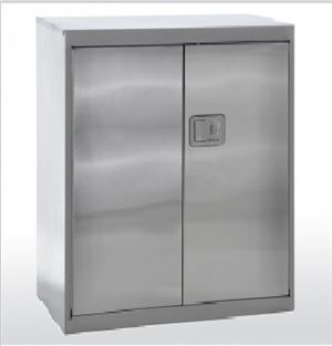Stainless steel counter height with paddle lock.