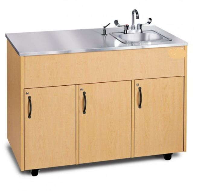 Single Basin Portable Sink w/ Extra Storage & Stainless Steel Top