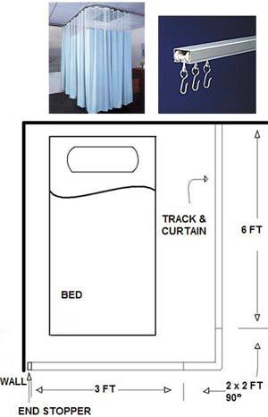 Single Bed Privacy Cubicle Curtain Kit