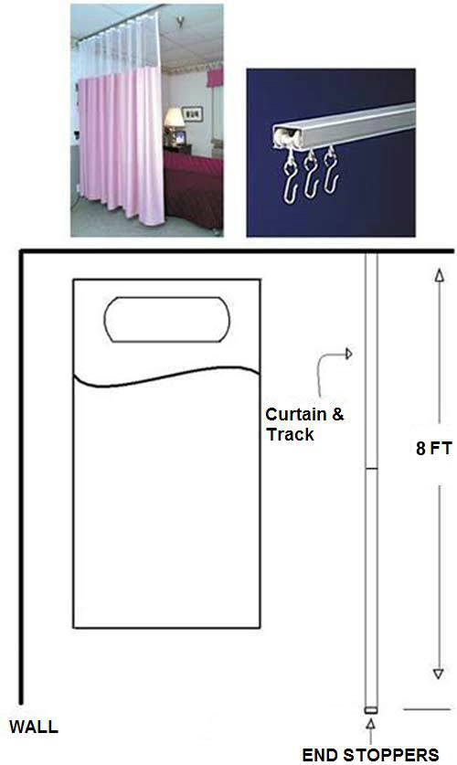 Single Bed Privacy Cubicle Curtain Basic Kit