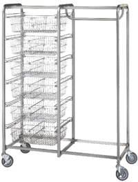 Six Basket & Garment Hanger Resident Item Cart