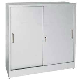 Sliding Door Storage Cabinet Adj. Shelves