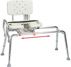 Sliding Transfer Bench w/ Cut-Out Swivel Seat, Standard