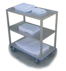 Solid Aluminum Push Cart - 3 Shelf