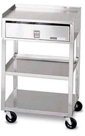 Stainless Steel 2 Shelf Cart w/ Drawer