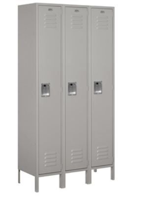 Standard Metal Locker, 6 ft tall, Single Tier, 15in Deep