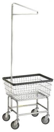 Standard Wire Laundry Cart w/ Single Pole Rack