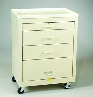 Steel 3 Drawer Medical Cart Panel  Single Key Lock