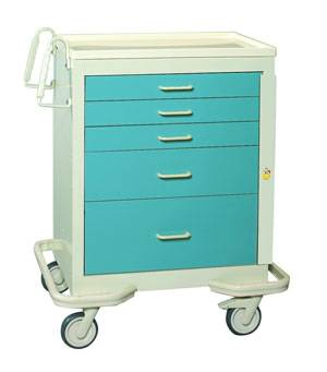 Steel 5 Drawer Emergency Cart w/ Breakaway Lock