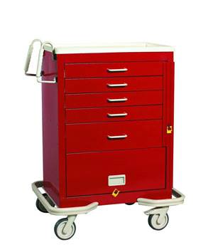 Steel 5 Drawer Emergency Cart w/ Panel & Breakaway Lock
