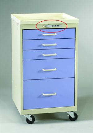 Steel 5 Drawer Mini Cart Push Button Lock