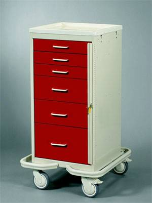 Steel 6 Drawer Mini Tower Anesthesia Cart