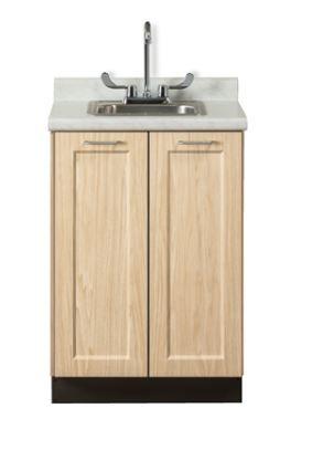 Designer Wood Grain 24in Base Cabinet with 2 Doors Postform Top