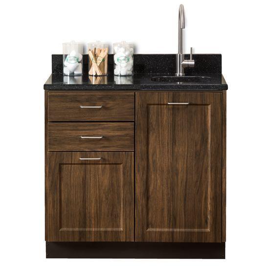Designer Wood Grain 36in Base Cabinet with Quartz Top