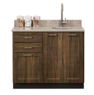 Designer Wood Grain 42in Base Cabinet 3 Doors 2 Drawers Quartz