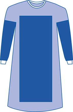 Surgeons Gown Poly-Reinforced, Breathable Sleeves 49in 124cm