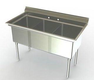 21in Wide Bowl Three Compartment Sink