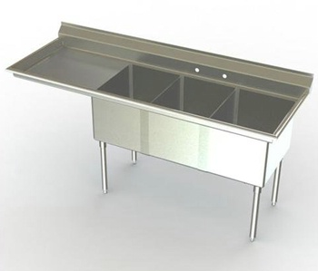 21in Wide Bowl Three Compartment Sink w/ Drainboard
