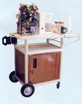 Three Shelf Food Serving Carts w/Locking Cabinet & Side Shelf