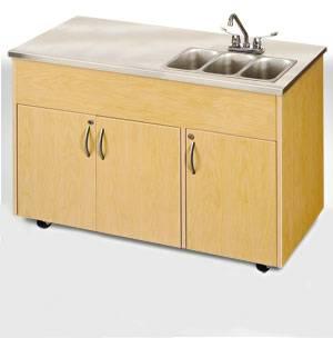 Triple Basin Portable Sink Stainless Steel Top  Storage