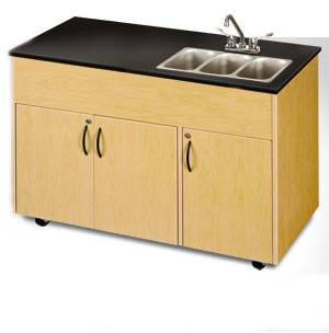 Triple Basin Portable Sink Extra Storage Cabinet