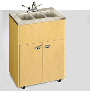 Triple Basin Portable Sink Stainless Steel Top