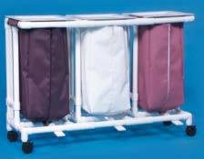 Large Capacity Mobile Triple Linen Hamper Foot Pedal