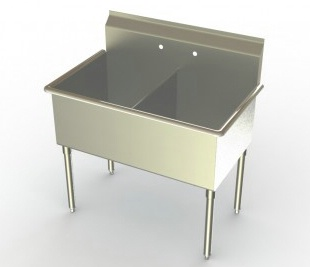 18in Wide Bowl Two Compartment Sink