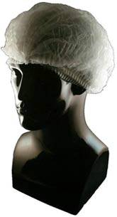 White Pleated Polypropylene Bouffant Cap