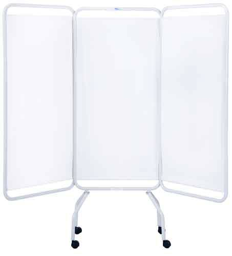 White 3 Panel Screen with Casters