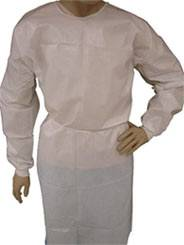 White Polyethylene Coated Isolation Gowns