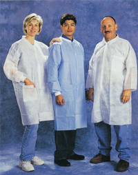 White Prolypropylene Elastic Wrist Lab Coat