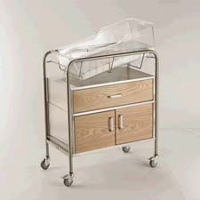 Wood Faced Hospital Bassinet