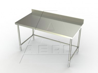 24in Wide Stainless Steel Work Table w/ 4in Backsplash