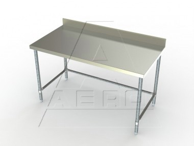 Economy 24in Wide Stainless Steel Work Table 4in Backsplash