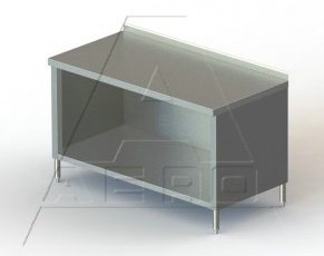 24in Wide Stainless Steel Work Table Enclosed Base  2 34in Backsplash