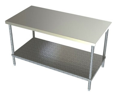 30in Wide Stainless Steel Work Table Galvanized Undershelf