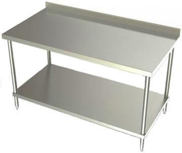 30in Wide Stainless Steel Work Table w/ SS Undershelf & 2 3/4in Backsplash