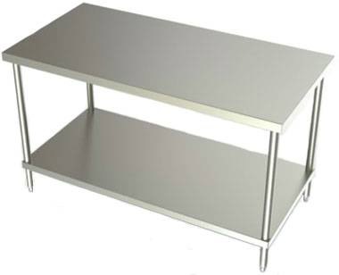 24in Wide Stainless Steel Work Table w/ SS Undershelf