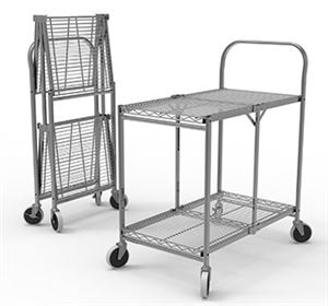 Collapsible Wire Utility Cart Two Shelves