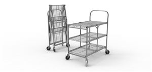 Collapsible Wire Utility Cart Three Shelves
