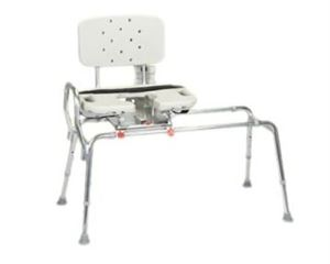 Sliding Transfer Bench w/ Cut-Out Swivel Seat, XL